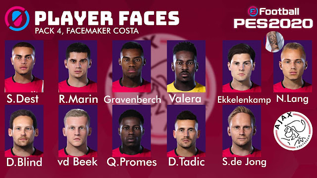 Ajax Players Facepack 4 by Costa For PES 2020 PC