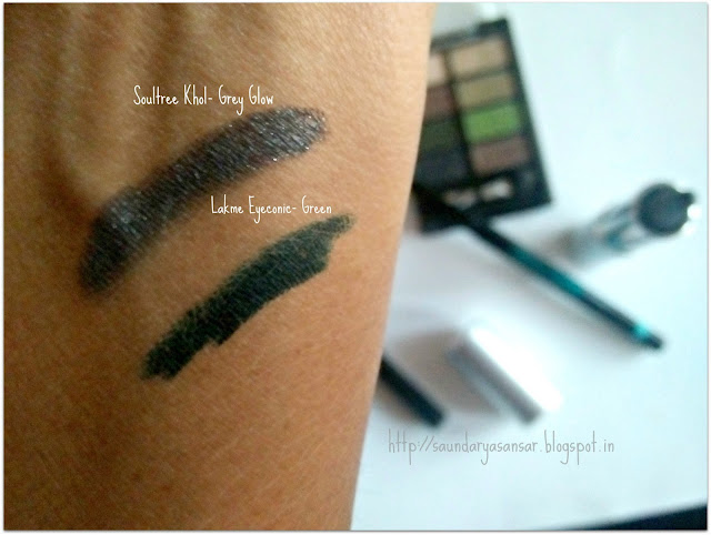 Lakme Eyeconic Green and Soultree Khol In Grey Glow review, swatches