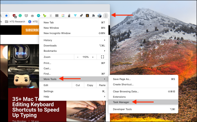 افتح إدارة المهام في Chrome