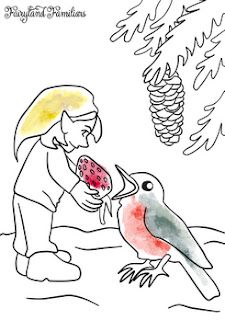 A coloring page of a gnome giving a strawberry to a bird