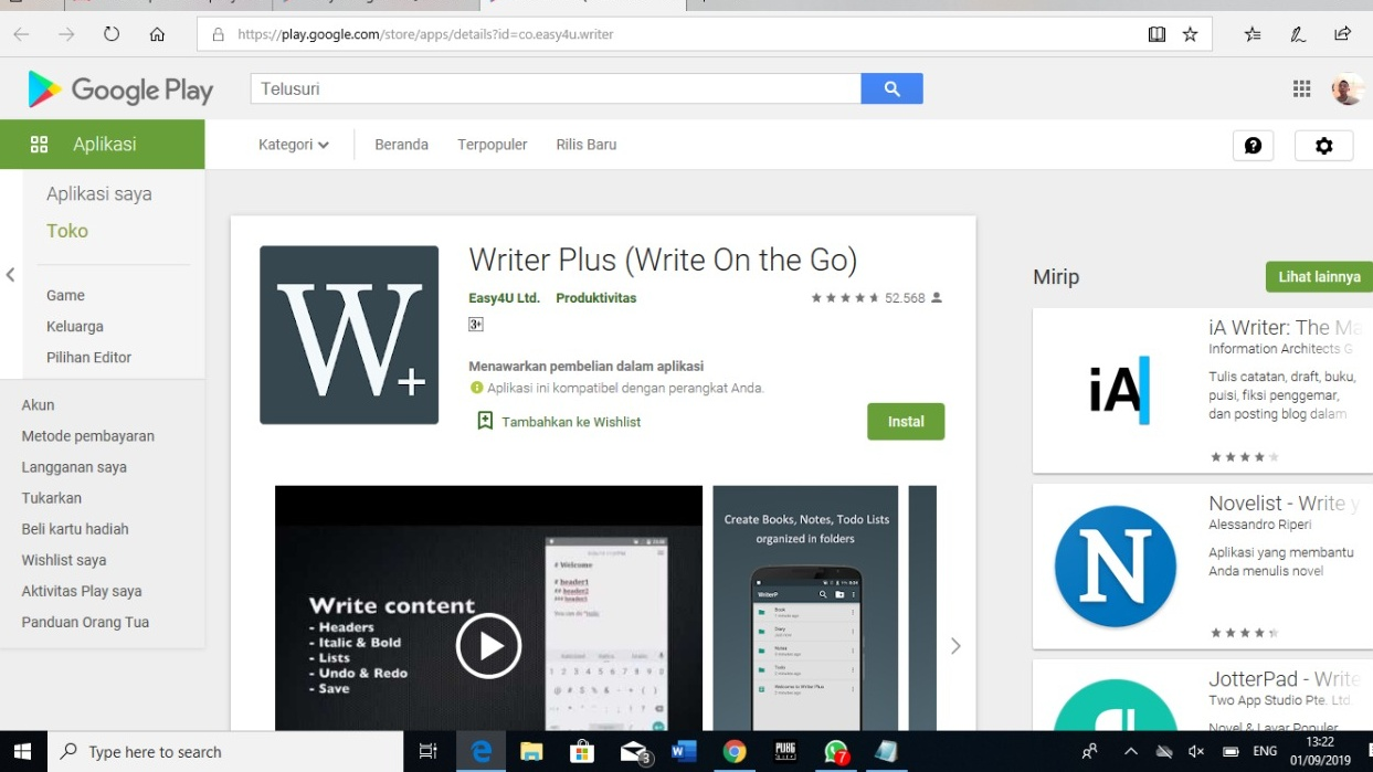Unduh Aplikasi Writer Plus (Write On the Go)