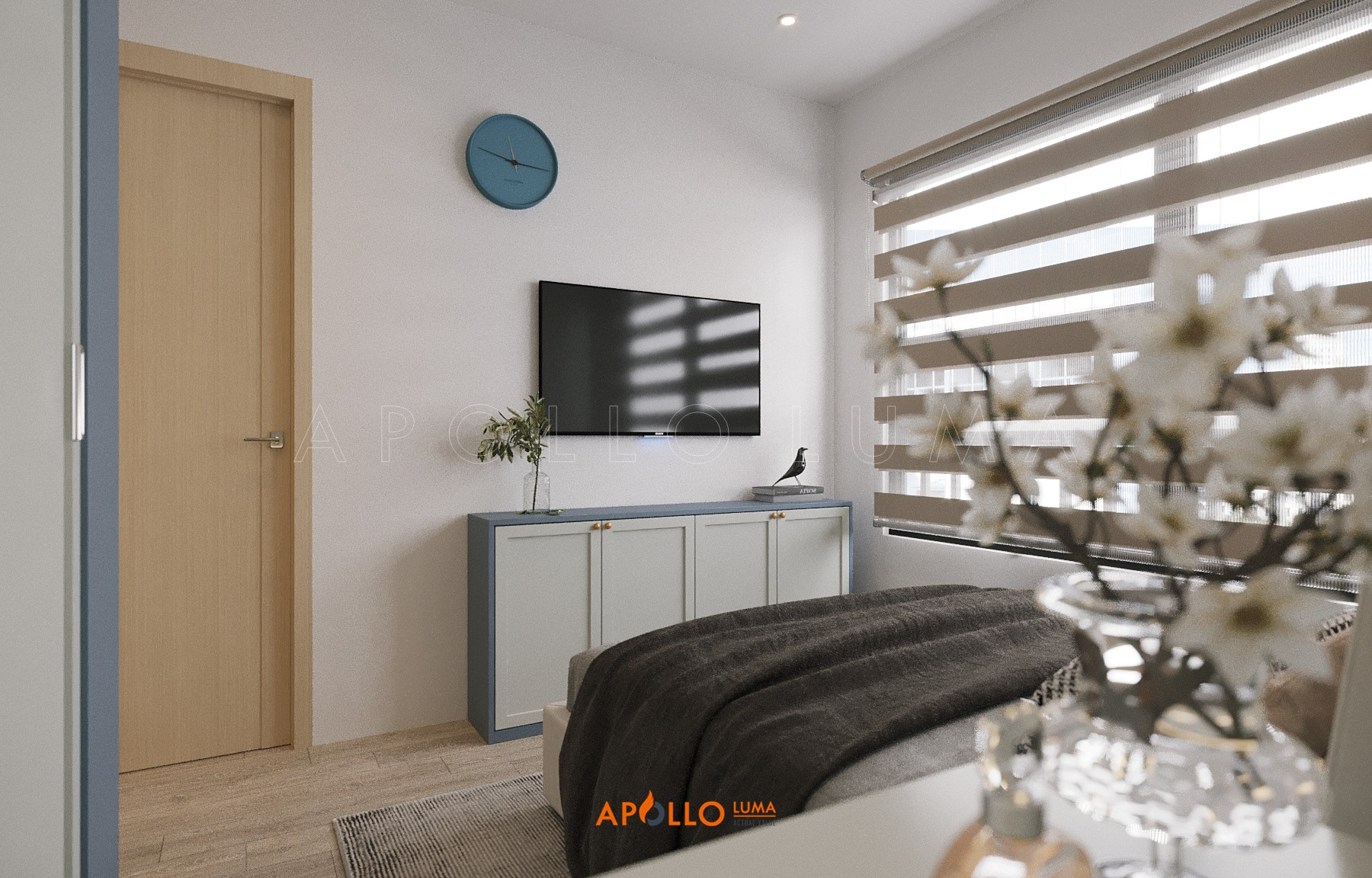 Thiết kế nội thất căn hộ 2PN+1 (63m2) S1.02-5A Vinhomes Ocean Park phong cách Scandinavian