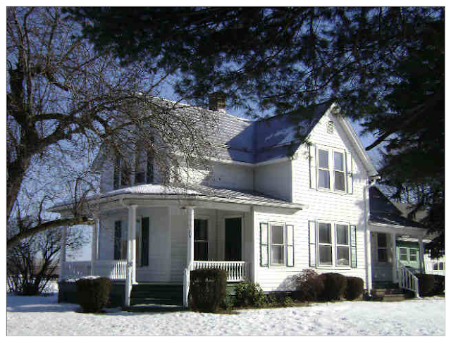 snowy setting of white Sears model No. 110 in Suffield, Connecticut