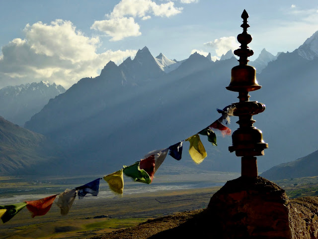 from Rooftop of Buddhist Monastery in Zanskar Valley, Ladakh, Himalayas of northern India