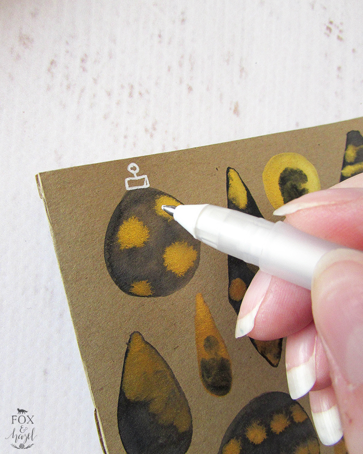 DIY Black & Gold Watercolour Ornament Cards