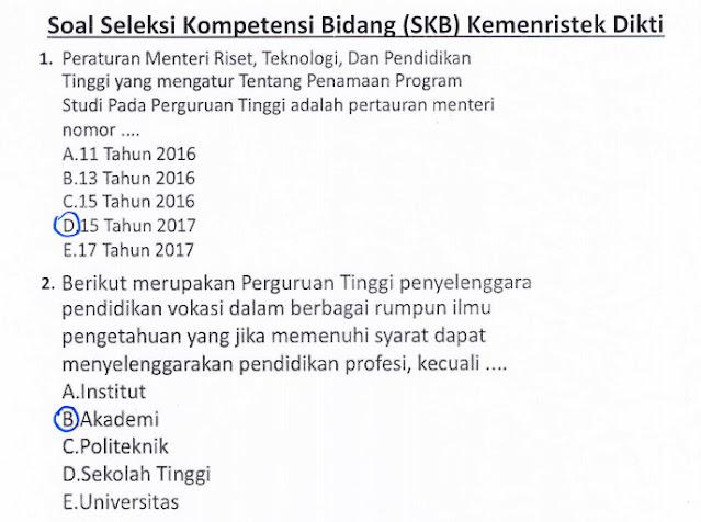 Contoh Soal SKB Kemenristek Dikti CPNS Tahun 2021 dan Kunci Jawabannya