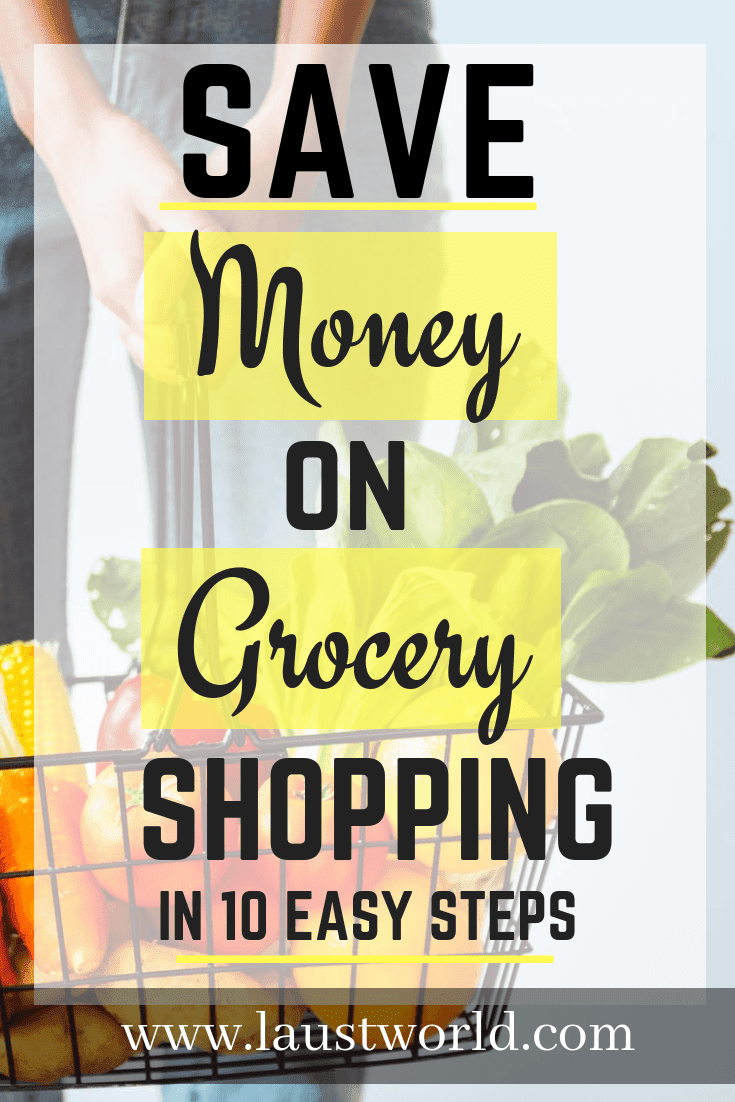 Pinterest image that says save money on grocery shopping
