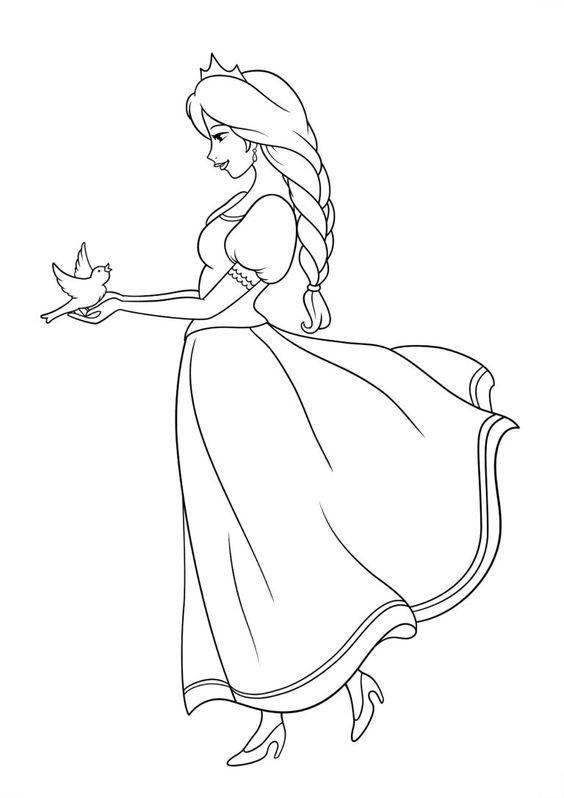 Hình tô màu công chúa và con chim nhỏ