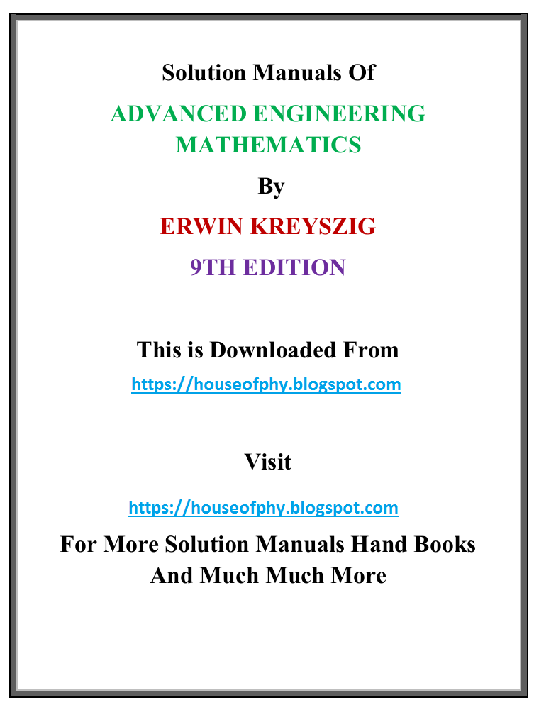 pdf book solution manual of advanced engineering mathematics by rh houseofphy blogspot com erwin kreyszig solution manual 9th edition download Differential Geometry Erwin Kreyszig By
