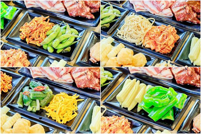 collage4 - 熱血採訪│韓式烤肉吃到飽400有找,多種肉品、蔬菜、熟食、小菜、飲料與冰淇淋,都在肉鮮生韓式烤肉吃到飽