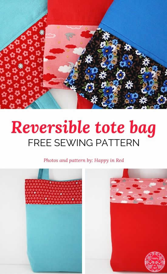 Reversible tote bag sewing pattern, free | Happy in Red