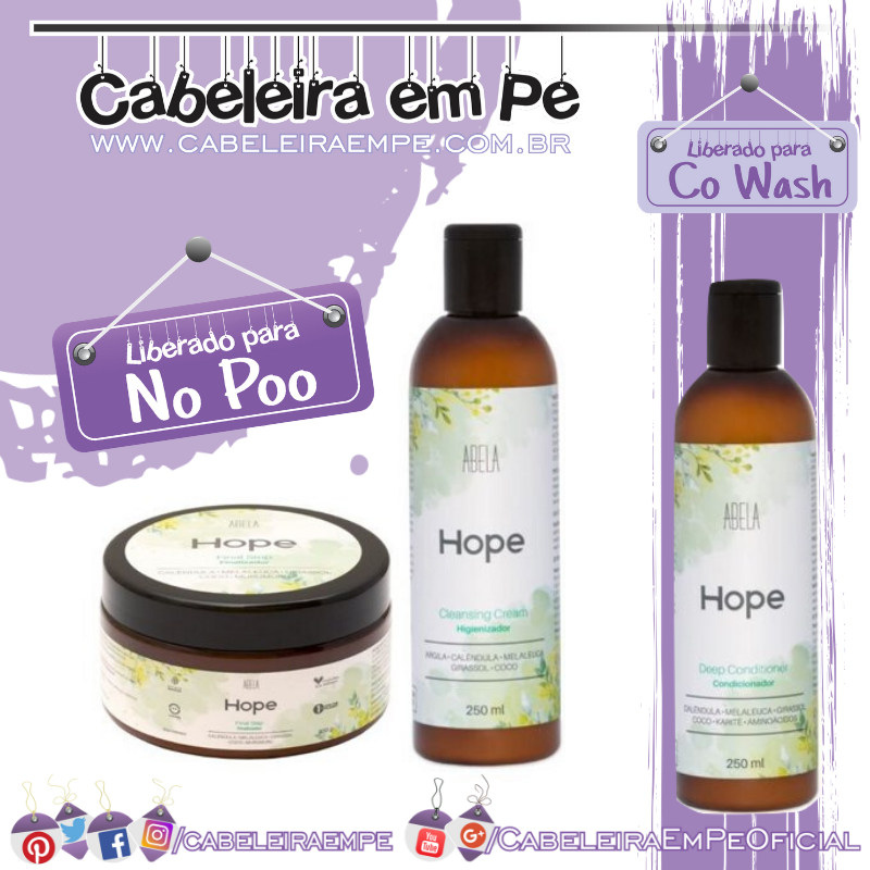Higienizador Co Wash, Condicionador e Finalizador Hope - Abela Cosmetics (No Poo)