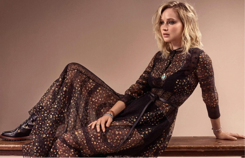 Jennifer Lawrence wears Dior maxi dress