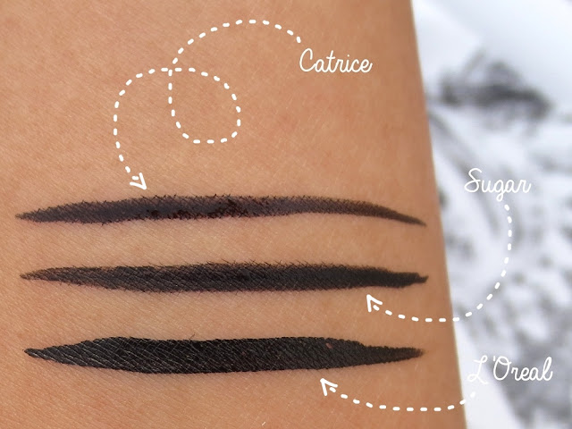 Catrice Cosmetics, Sugar, L'Oréal Eyeliner Swatch India