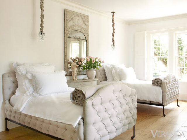 Pamela Pierce designed bedroom twin beds with tufted upholstery