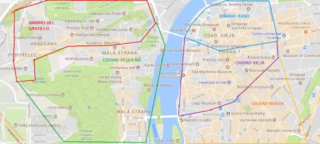 Mapa barrios Praga