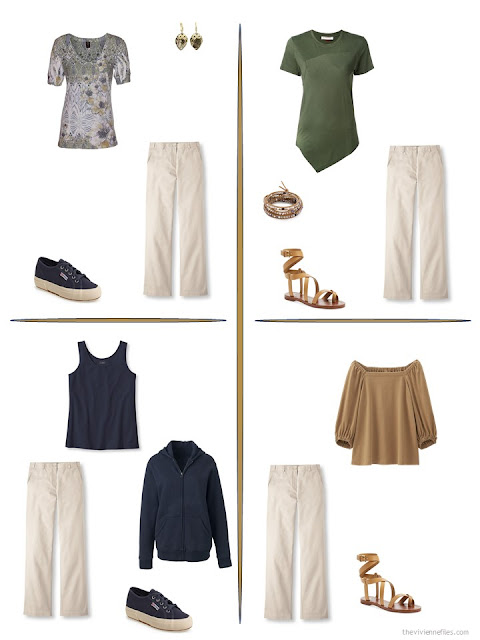 four ways to style a pair of beige pants from a travel capsule wardrobe