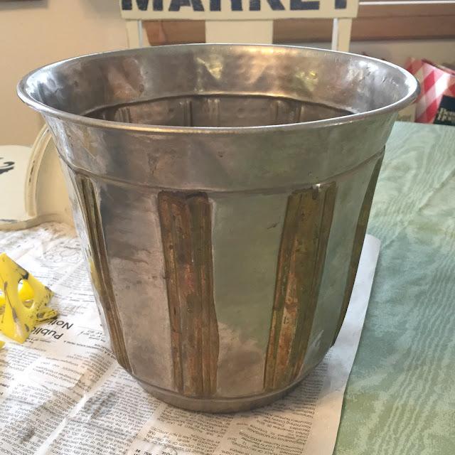Photo of a metal flowerpot