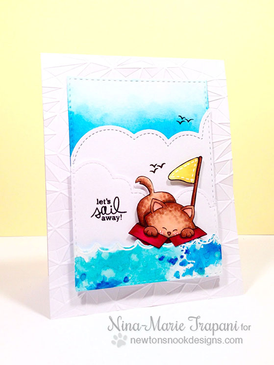 Kitty at sea in Box | Card by Nina-Marie Trapani | Newton's Antics stamp set by Newton's Nook Designs
