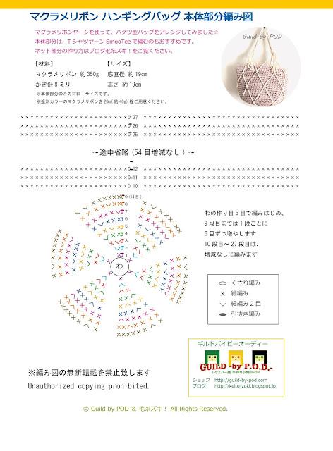 転載禁止【無料編み図】マクラメリボンを使ったマクラメハンギングバッグ Guild by POD 毛糸ズキ!