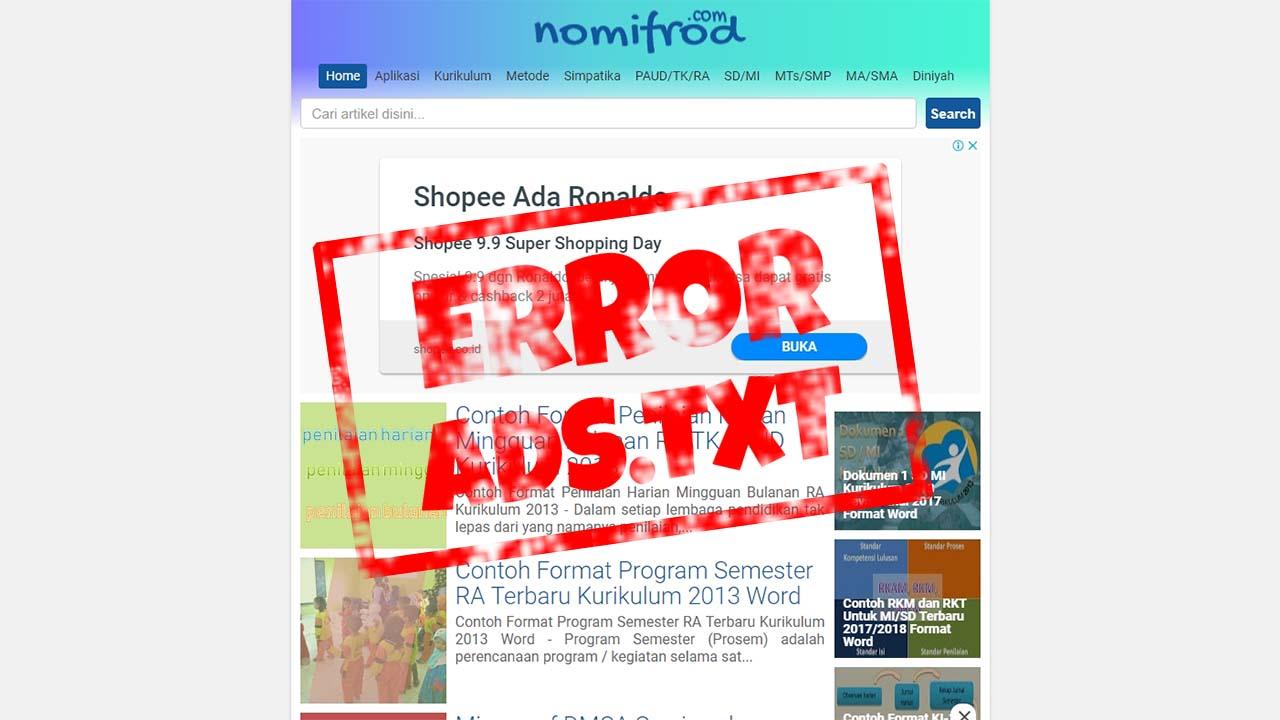 Pengalaman Memperbaiki Notifikasi ads.txt di Dashboard Adsense