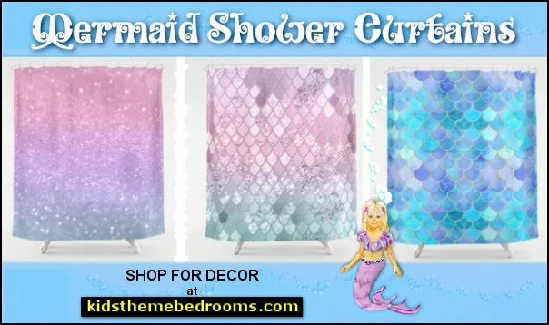Mermaid shower curtains  shower curtains - fabric shower curtains - novelty shower curtains - bathroom decor - novelty bathroom accessories bathrooms