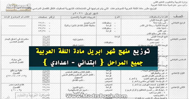 توزيع منهج اللغة العربية شهر ابريل 2021 جميع المراحل كاملة بالتعديل الاخير ابتدائي واعدادي