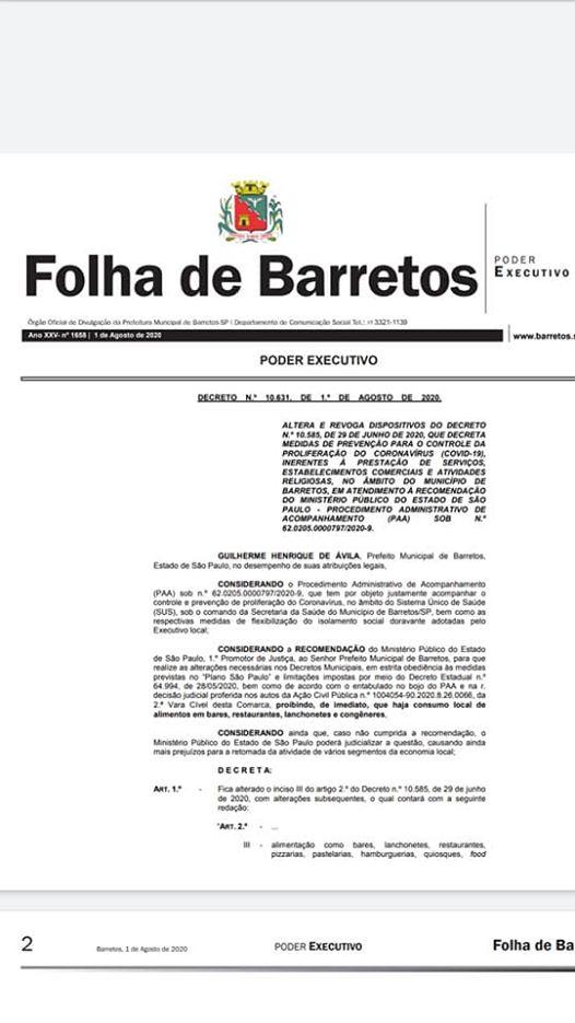 DECRETO DE HOJE 01/08/2020 DE AUTORIA DO PREFEITO GUILHERME  ÁVILA PROÍBE CONSUMO NO LOCAL DE BARES, RESTAURANTES E AFINS  (Barretos Que Ninguém Vê) Pag. 1