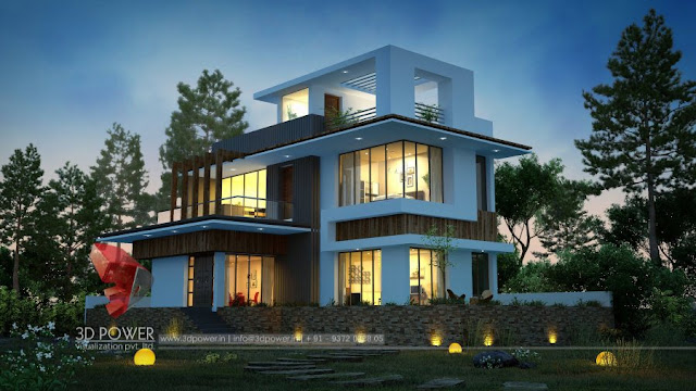 story villa elevation design bungalow rendering exterior - Small Bungalow Elevation