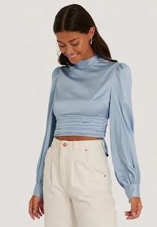 Дамска къса Блуза с отвор на гърба - Na - Kd