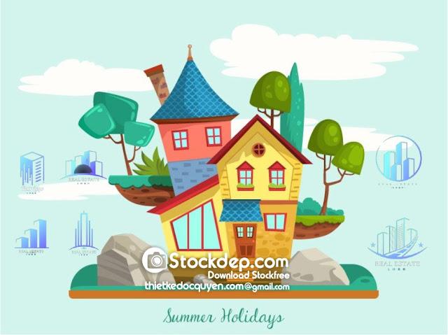 Modern real estate logo vector free