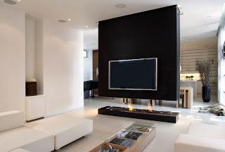 diseño sala con chimenea