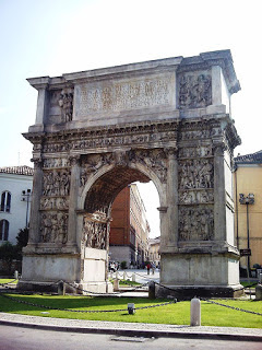 The Arch of Trajan is one of a number of Roman relics in the city of Benevento