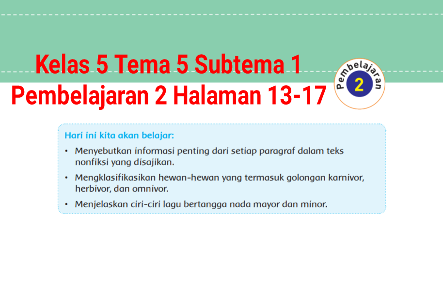 Kunci Jawaban Buku Tematik Tema 5 Kelas 5 Halaman 13 15 16 17 Koesrow