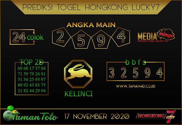 Prediksi Togel HONGKONG LUCKY 7 TAMAN TOTO 17 NOVEMBER 2020