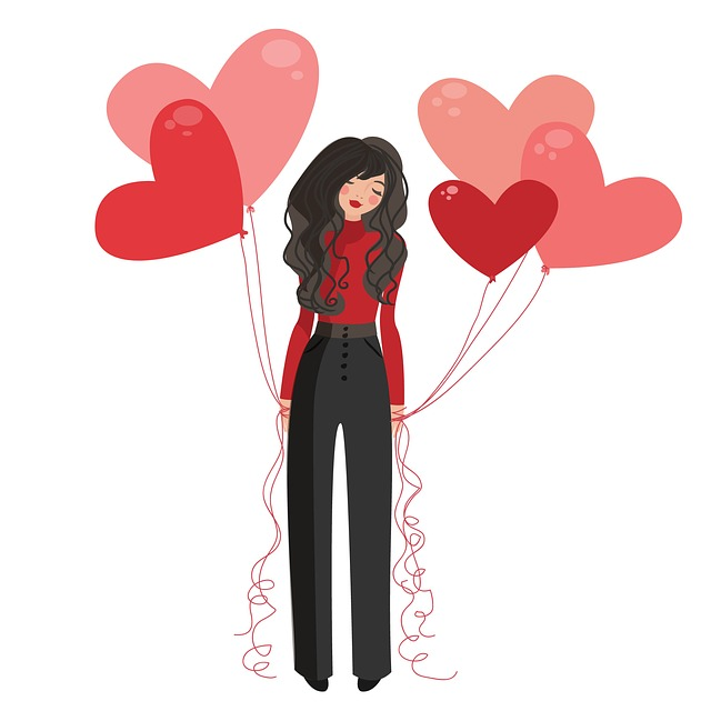 Illustrated woman holding a bunch of heart-shaped balloons