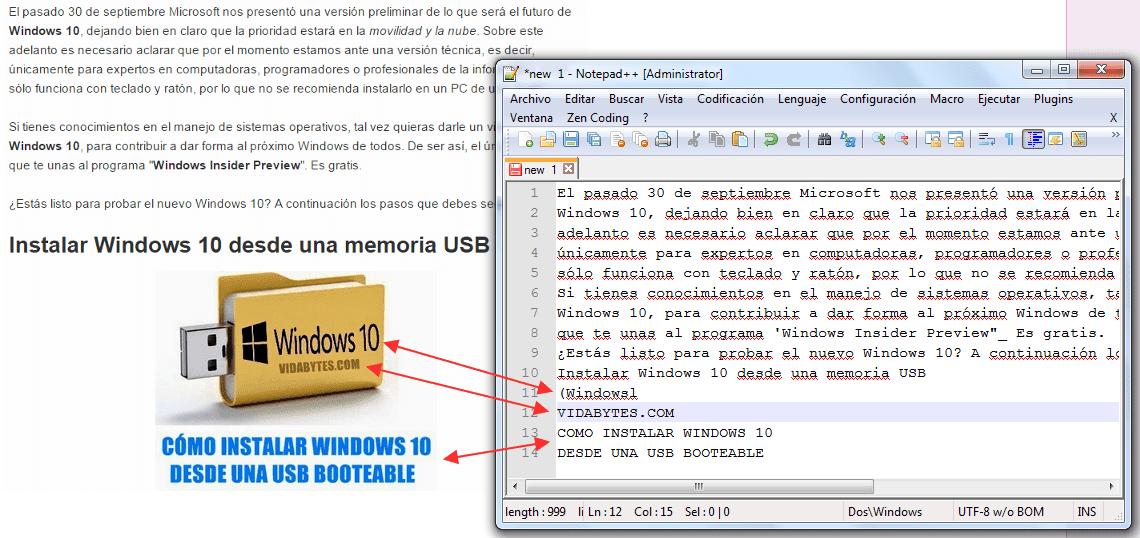 Texto copiado de imagen con OneNote