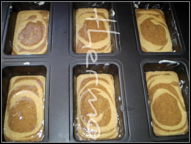 Bizcochos de mandarina y chocolate con formado cebra y sin azúcar