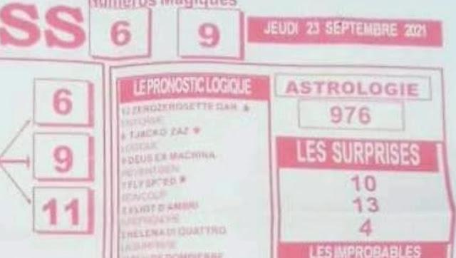 Pronostics quinté pmu jeudi Paris-Turf TV-100 % 23/09/2021