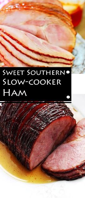 Sweet Southern Slow-Cooker Ham #Ham #Slow_Cooker