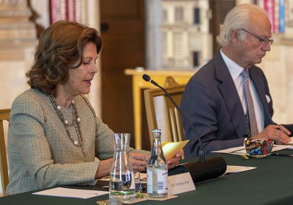 Queen Silvia, Crown Princess Victoria and Princess Sofia attended Partner Advisory Board Meeting. Multicoloured wool blend zig-zag knit jumper