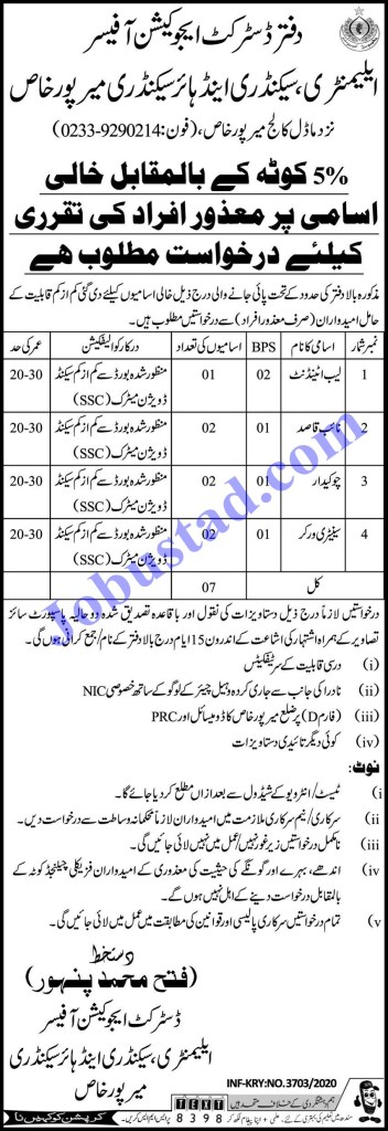 Mirpurkhas District Education Authority jobs December 2020