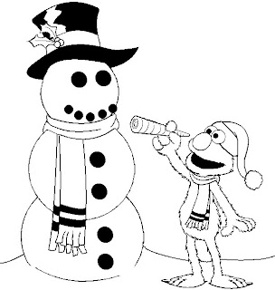 Elmo And The Snowman Coloring Pages