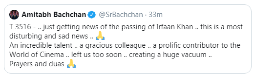 Bollywood actor Irrfan Khan dies