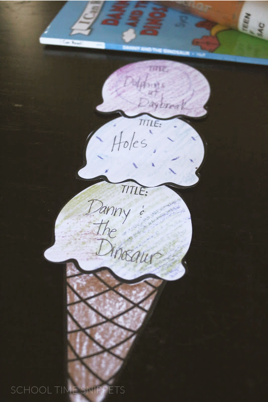 ice  cream reading chart for summer reading challenge