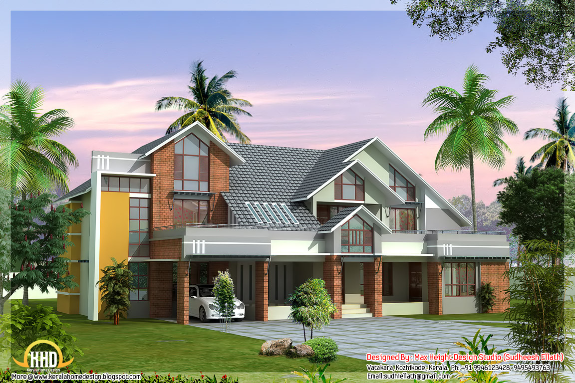 Modern contemporary house design 3700 sq ft kerala for Contemporary home blueprints