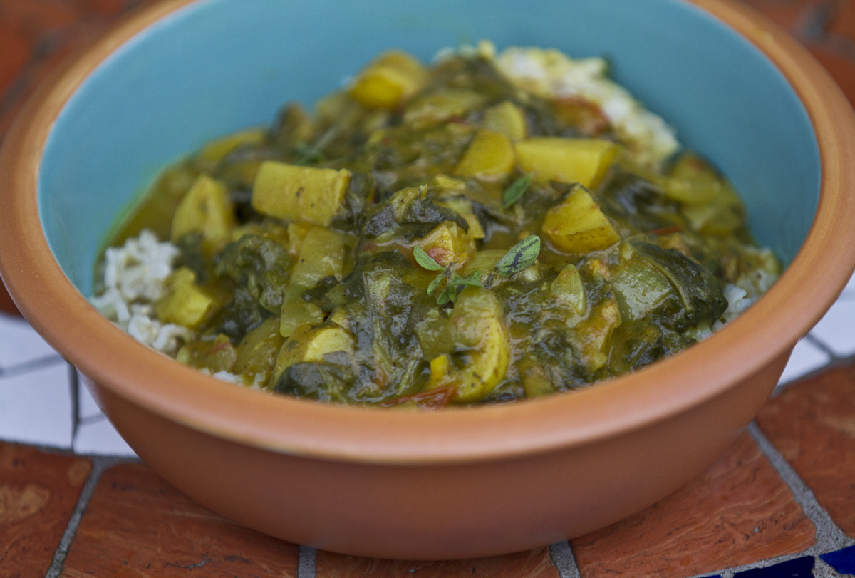 swiss chard and potato curry | Local Food Rocks