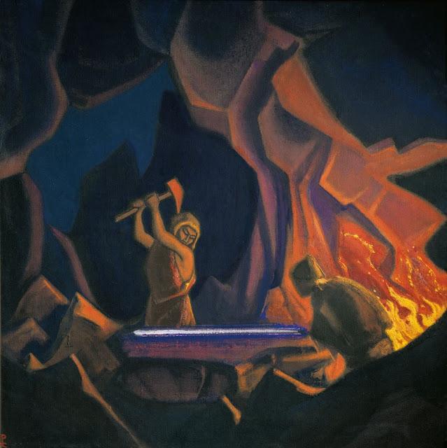 Николай Рерих - Ковка меча (Нибелунги). 1941