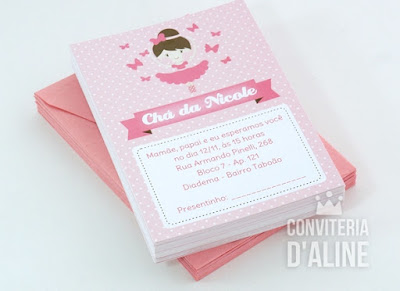 convite bailarina rosa e borboletas cha bebe
