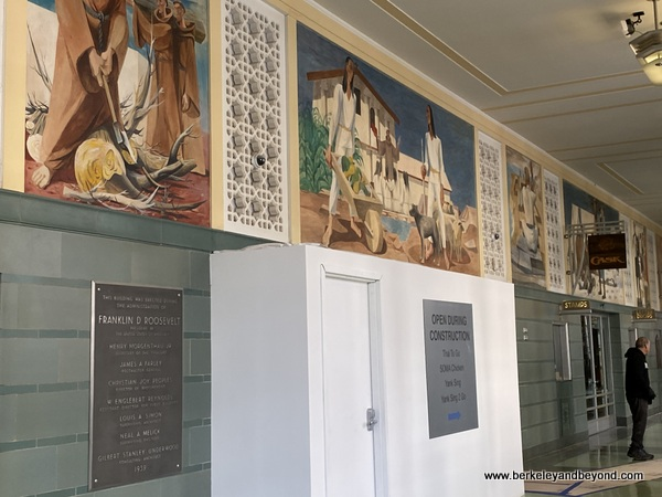 """part of """"The History of California"""" mural in lobby of Rincon Center Annex on Commonwealth Club Waterfront tour in San Francisco, California"""